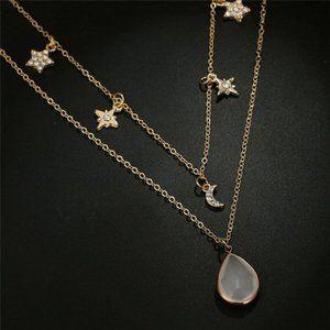 Boho Star Moon Drop Multilayer Women's Necklace